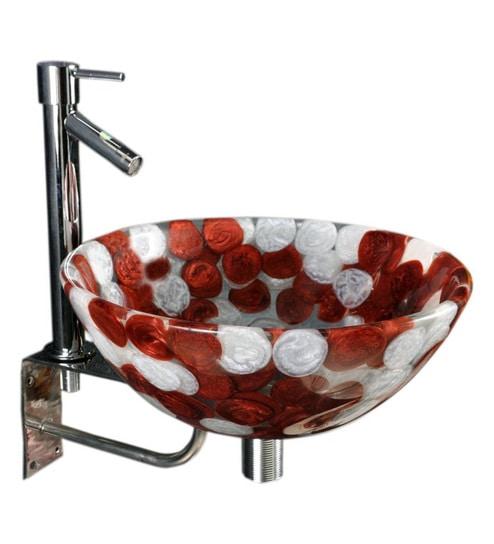 Joyo Cera Resin Designer Burgundy & White Wash Basin With Stand