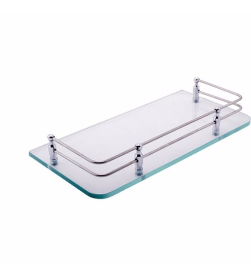 Buy Joyo Cera Transparent Glass 12 x 12 Inch Bathroom Shelf with ...