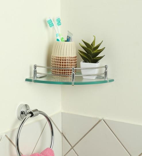 Buy Joyo Cera Transparent Glass 7.5 x 7.5 Inch Corner Bathroom Shelves with Bracket - Set of 2 (Model: Gls132) Online - Bathroom Shelves - Bath Fixtures ...