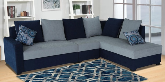 Jordan Corner Sofa in Blue & Grey Colour by Muebles Casa