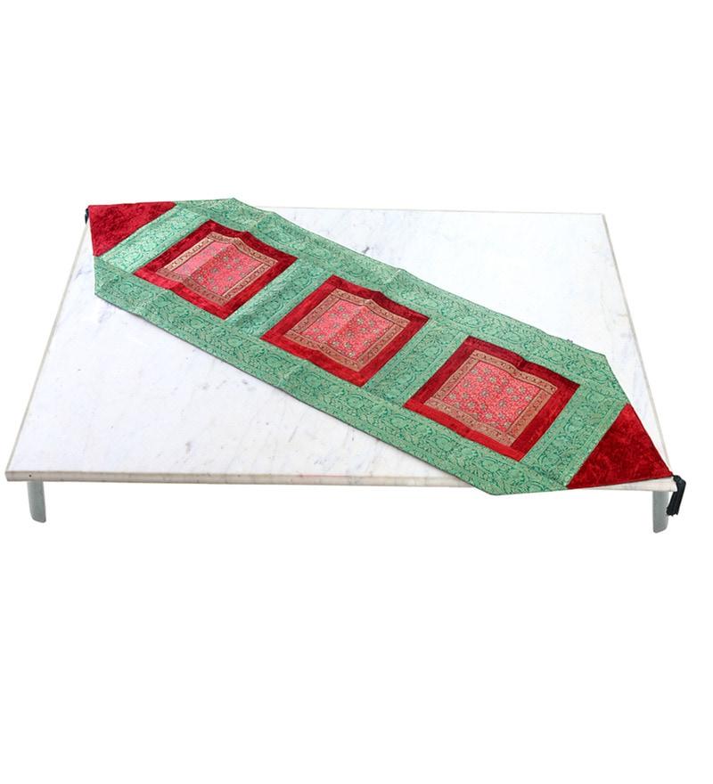 Jodhaa Large Red & Green Velvet & Brocade Table Runner