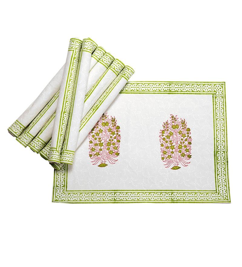 Jodhaa Paisley White And Green Cotton Table Mats - Set Of 8