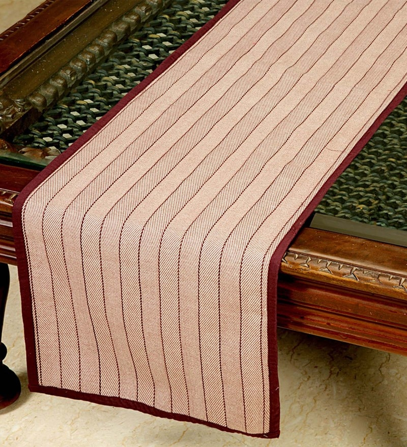 Jodhaa Striped Burgundy Cotton Table Runner