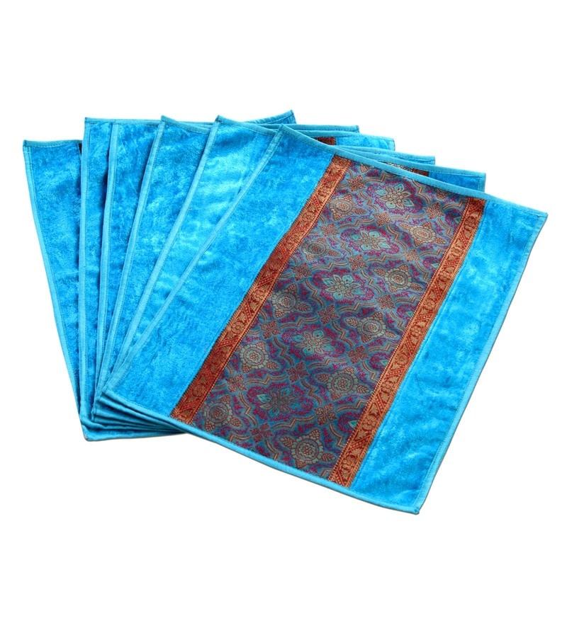 Jodhaa Turquoise Velvet & Brocade Placemats - Set of 6