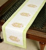 Jodhaa Floral And Paisley Green And White Cotton Table Runner