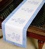 Jodhaa Floral And Paisley White And Blue Cotton Table Runner