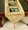 Jodhaa Geometric Gold & Green Velvet Table Runner