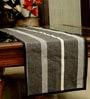 Jodhaa Rectangular Striped Black Cotton Table Runner