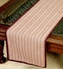 Jodhaa Rectangular Striped Burgundy Cotton Table Runner