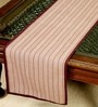Jodhaa Striped Burgundy Cotton Table Runner