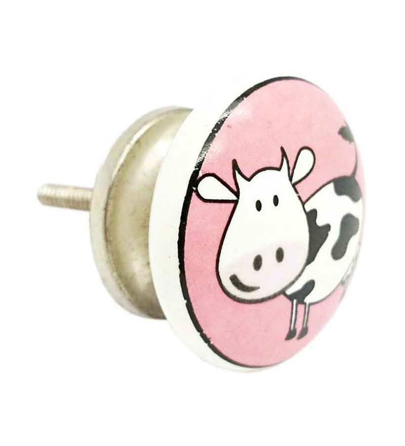 JP Hardware Pink Ceramic 1.49 Inch Door Knob - Set of 4