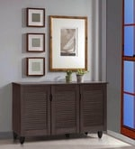 Jurou Three Door Shoe Cabinet in Two Tone Wenge Finish