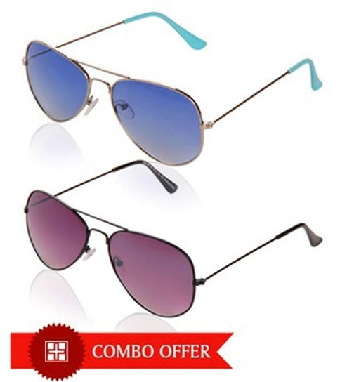 8ffd333d9ec1 Just Colours Purple   Blue Aviator Sunglasses Combo by JUST COLOURS Online  - Sunglasses - Hobbies - Pepperfry Product