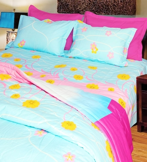 Just Linen Floral Double Bedsheet Set Sky Blue And Fuschia Pink
