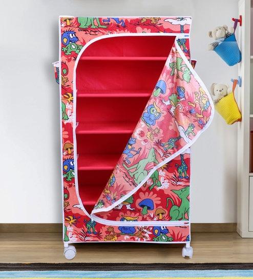 Jungle Red Six Shelves Folding Wardrobe by Little One's