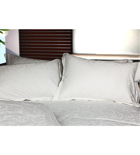 Just Linen King Size White Cotton Damask Duvet Cover By Just Linen