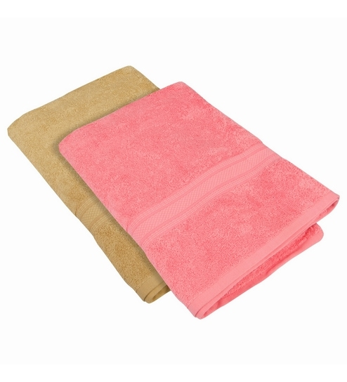 Buy Pink Cotton 24 X 48 Bath Towel Set Of 2 By Just Linen Online
