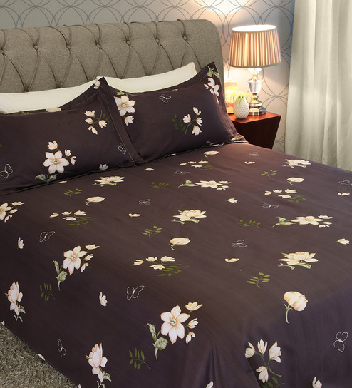 e4ce2af1cb6 Buy Jutta Floral Pattern 225 TC Microfibre Queen Size Bedsheet with 2  Pillow Covers by Amberville Online - Floral Queen Size Bed Sheets - Queen  Size Bed ...