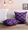 S Violet 100% Cotton 16 x 16 Inch Cushion Covers - Set of 1 by Just Essential