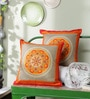 Multicolour Cotton 16 x 16 Inch Durable Cushion Covers - Set of 2 by Just Essential