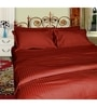 Maroon Satin Single Size Flat Bedsheet - Set of 2 by Just Linen
