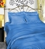 Just Linen Sky Blue Cotton Single Size Flat Bedsheet - Set of 4