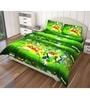Yellow and Green Polyester Single Size Flat Bedsheet - Set of 4 by Just Linen