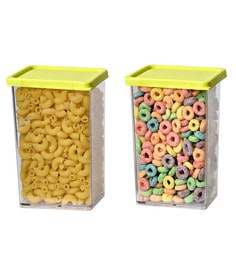 JVS Green Plastic Stack N Store 800 ML Container - Set Of 2