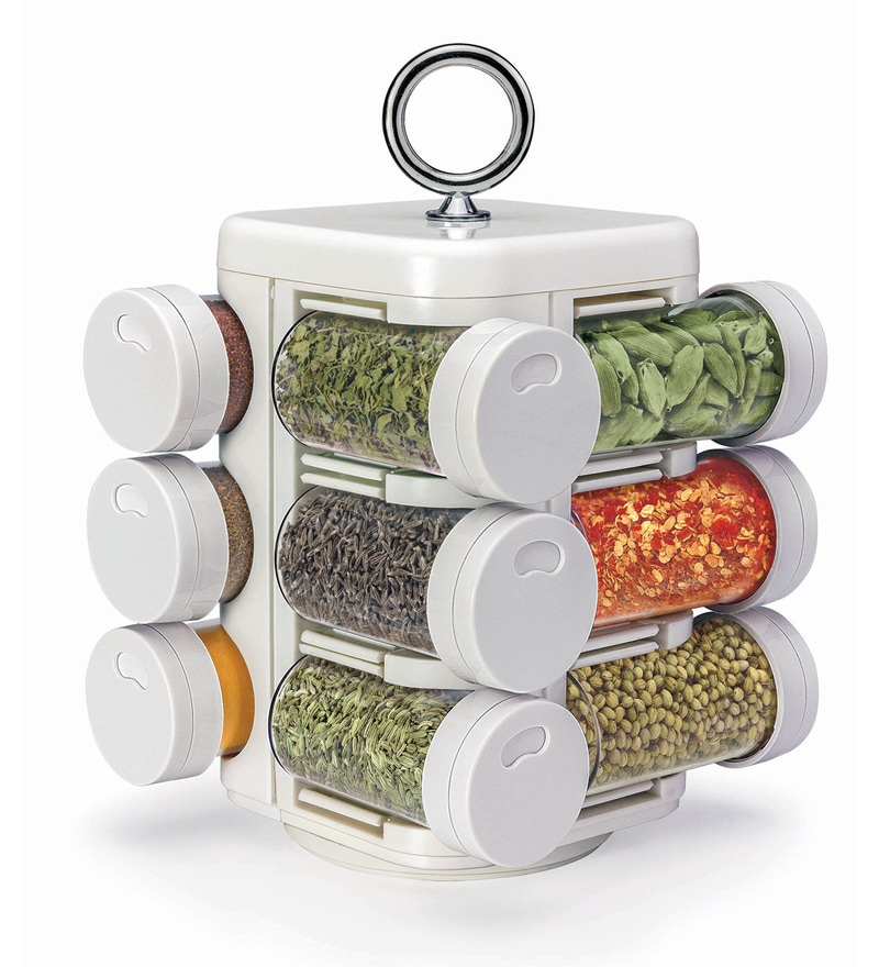 Jvs Kitchen Mate White 100 ML Spice Rack - Set of 12