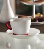 Kahla Touch Red & White Porcelain 250 ML Five Senses Cup & Saucer