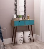 Kaoru Console Table in Oak & Aquamarine Blue Finish