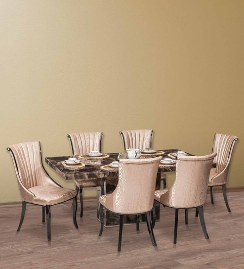 Buy Kara Marble Top Six Seater Dining Set By Durian Online