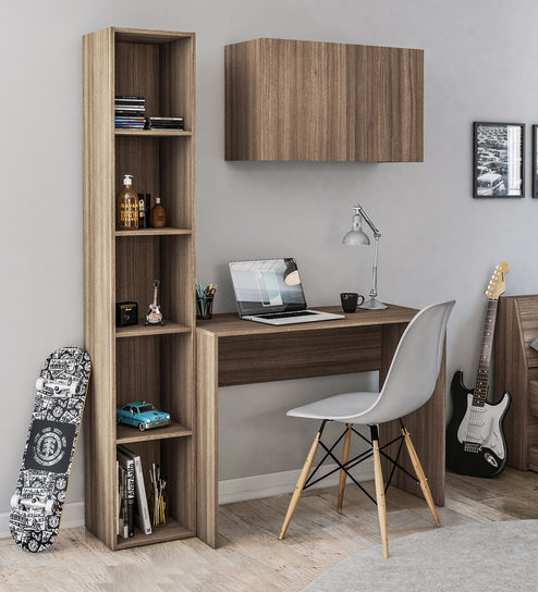 Karanga Study Table With Book Shelf And Cabinet In Light Walnut Finish By Mintwud