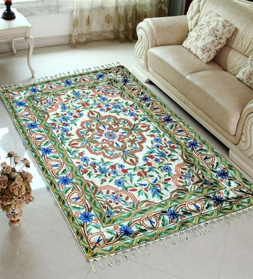 Saaz E Kashmir Cotton Fl Carpet Set Of 1