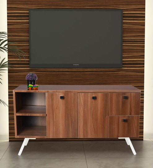 Kayla Tv Unit In Brown Finish By Addy Design