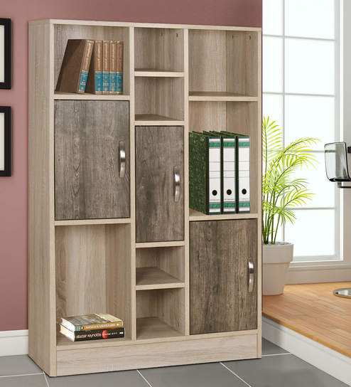 Kazuki Book Shelf Cum Filing Cabinet In Oak Finish By Mintwud