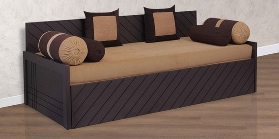 buy kaiden sofa cum bed with 2 cushions 4 bolsters in brown colour rh pepperfry com