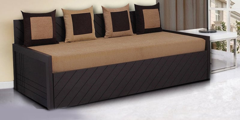 Buy Kaiden Sofa Cum Bed With 4 Cushions In Brown Colour By