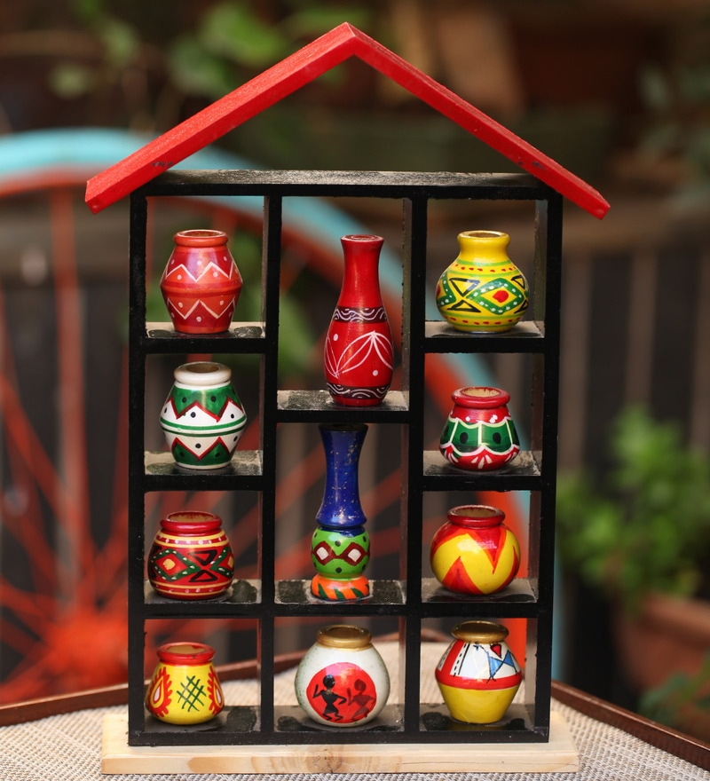 Handpainted 11 Pots with Wooden 7 x 2 x 10 Inch Hut Frame by Kalaplanet