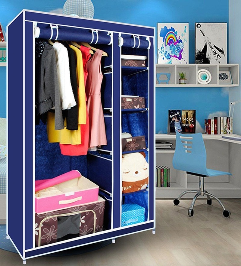 Kawachi Elegant Double-Sided Foldable Resin & Metal Blue Wardrobe
