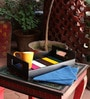 Kalaplanet Colorful Strips Hand-painted Wooden Tray