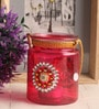 Pink Glass Tea Light Holder by Gupta Glass Gallery