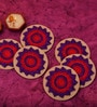 Kanhai Pinwheel Multicolour Recycled Felt & Thread Coaster - Set of 6
