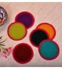 Kanhai Vibrant Hues Multicolour Wool Felt & Cotton Thread Coaster - Set of 6