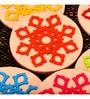 Kanhai Vivid Impressions Star Burst Multicolour Non Woven Felt & Recycled Felt Coaster - Set of 6