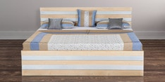 Kelly King Size Bed with Box Storage in Maple Matt & Silver Finish