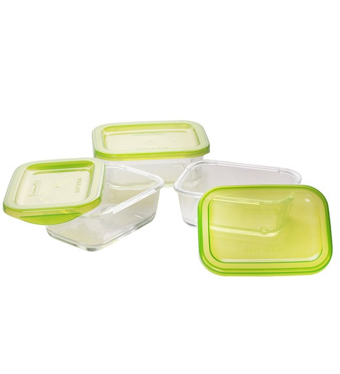 Luminarc Keep N Box Green 370 Ml Storage Container Set of 3 by