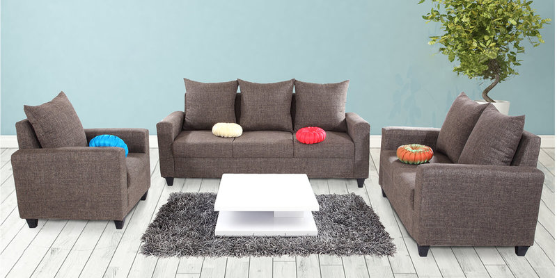 Keiko (3+2+1) Seater Sofa Set in Brown Colour by Looking Good Furniture