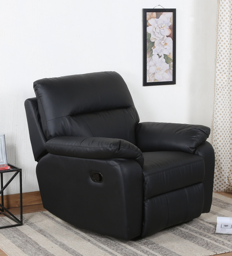 Kevin One Seater Manual Recliner In Black Leatherette ...