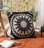 Black Wool & Cotton Embroidery 20 x 20 Inch Artistic Handmade Chain Stitch Cushion Cover by KEH